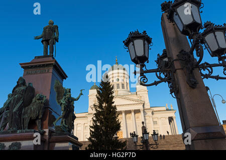 Alexander II monument and Cathedral Senate Square Helsinki Finland - Stock Photo