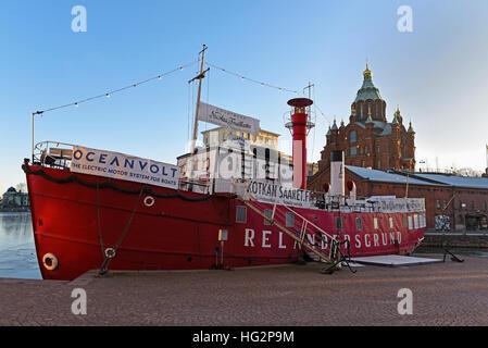 Lightship Relandersgrund and Uspenski Cathedral Helsinki Harbour, Finland - Stock Photo