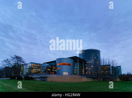 Dresden: Transparent manufactory of Volkswagen AG, , Sachsen, Saxony, Germany - Stock Photo