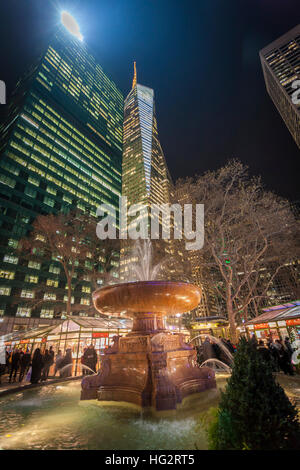 Fountain in Bryant Park, New York. - Stock Photo