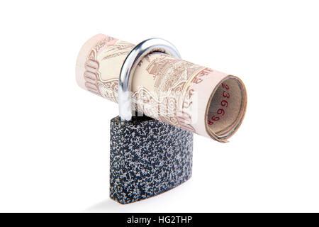Cash Locked for Money Saving Insurance Concept, Money security concept - Stock Photo