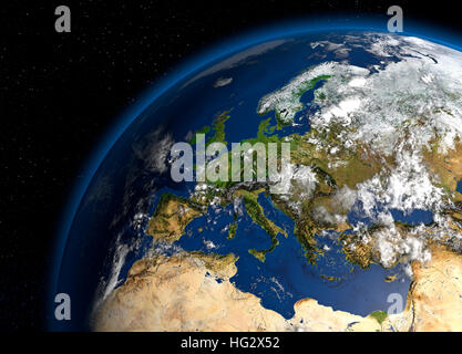Earth viewed from space showing Europe. Realistic digital illustration including relief map hill shading of terrain. - Stock Photo