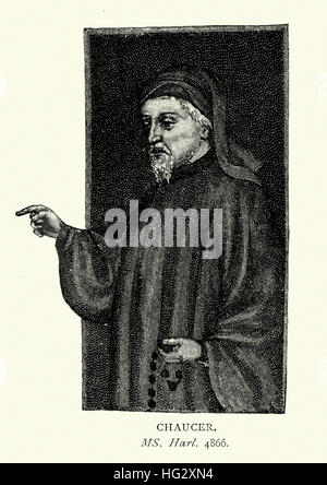Portrait of Geoffrey Chaucer, known as the Father of English literature, is widely considered the greatest English - Stock Photo