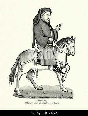 Chaucer on Horseback, from the Canterbury Tales - Stock Photo