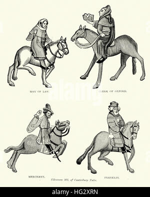 Characters from Geoffrey Chaucer's, Canterbury Tales, Lawyer, Clerk of Oxford, Merchant and Franklin - Stock Photo