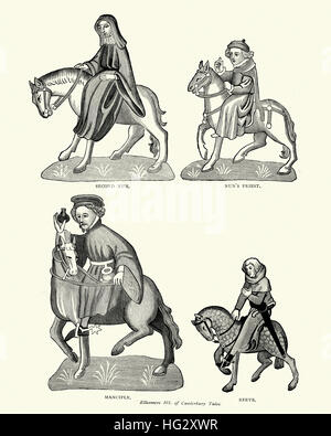 Characters from Geoffrey Chaucer's, Canterbury Tales, Nun, Priest, Manciple and Reeve - Stock Photo
