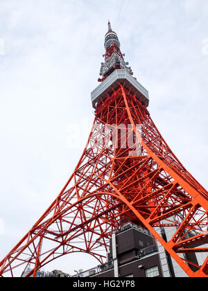 Whole of Tokyo tower - Stock Photo