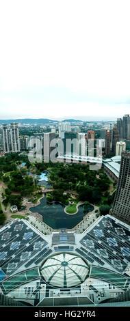 Twin Tower Courtyard in Malaysia - Stock Photo