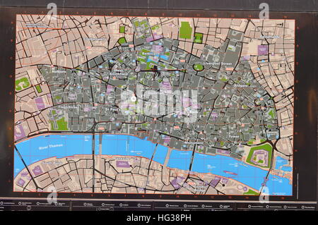 Information map showing way along the River Thames - Stock Photo