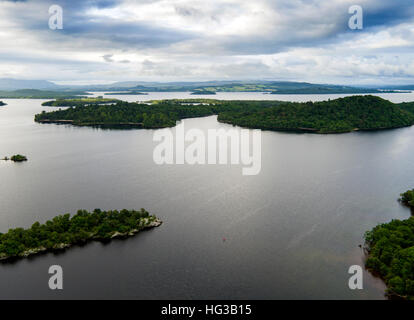 An aerial view of some of the many islands in Loch Lomond, Scotland. - Stock Photo