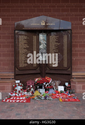 Hillsborough Disaster  memorial in its new position at Anfield Liverpool new Main stand and garden - Stock Photo