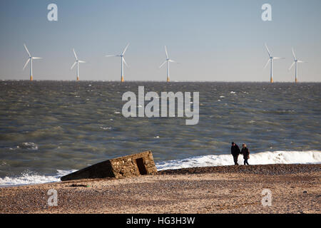 Old second world war pillbox partially buried in the sands on Caister Beach. - Stock Photo