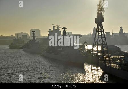 Royal naval dockyard at Portsmouth UK - Stock Photo