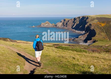 A woman walking a cliff-top coastal path near Hartland Quay in North Devon, England, UK. Selective focus on the - Stock Photo
