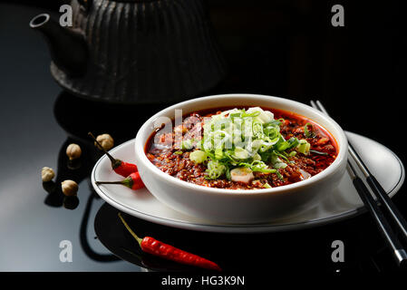 Chinese Spicy Noodle with red pepper, Szechuan style - Stock Photo