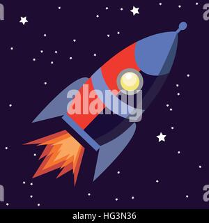 Illustration of a cute cartoon rocket space ship isolated on starry background - Stock Photo