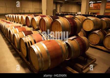 Barrels at the Schloss Wackerbarth vineyard in Dresden, Germany. The winery hosts a restaurant and regular events. - Stock Photo