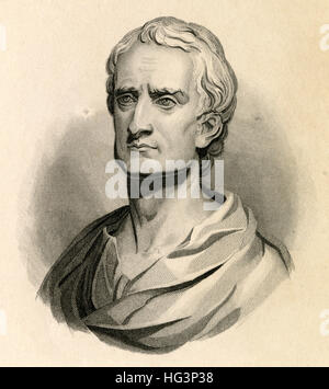 Antique c1840 engraving, Sir Isaac Newton. Sir Isaac Newton PRS (1642-1726) was an English mathematician, astronomer, - Stock Photo