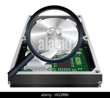 inside of internal harddisk with a magnifying glass scanning - Stock Photo