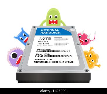 internal harddisk with a virus computer infected - Stock Photo