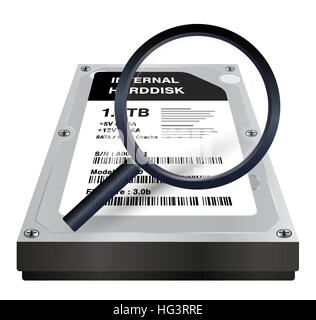 internal harddisk with a magnifying glass scanning - Stock Photo