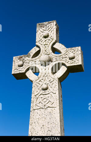 Celtic cross at Graveyard Cill Chriosd, near B8083 road from Broadford to Elgol. - Stock Photo