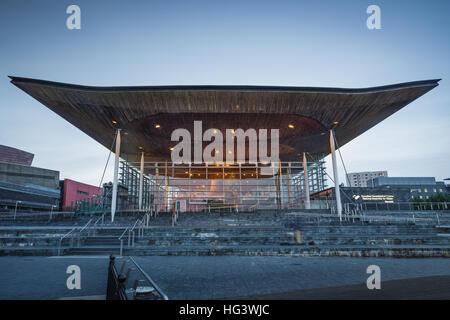 Welsh Assembly building (Y Senedd), Cardiff Bay, Glamorgan, Wales, UK - Stock Photo