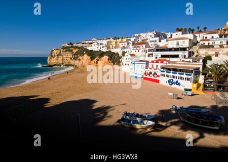 View of Monte Carvoeiro, Lagoa, Algarve Portugal, beach and city - Stock Photo