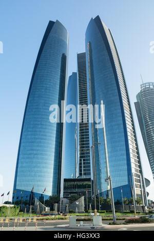 ABU DHABI, UNITED ARAB EMIRATES - DECEMBER 4, 2016: Etihad Towers in Abu Dhabi. - Stock Photo