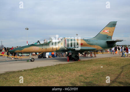 Hungarian Air Force Aero L-39 Albatross trainer yet on Kecskemet airbase. Hungary - Stock Photo