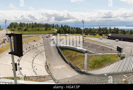 View of Oslo from the Holmenkollen Ski Jump in Norway - Stock Photo