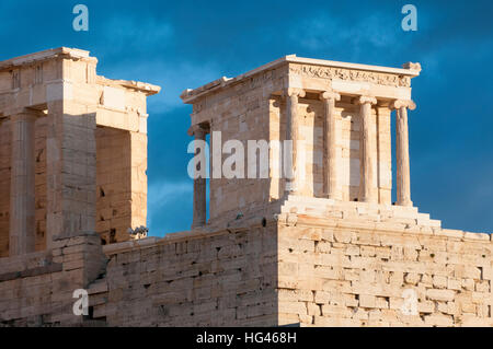 temple of athena nike, propylaea of acropolis - Stock Photo