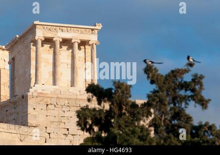 temple of athena nike, propylaea of acropolis - Stock Photo