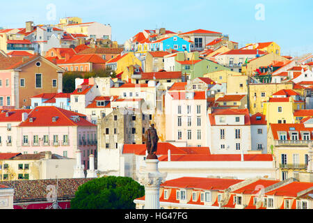 View of Old Town of Lisbon with monument of the king Pedro IV. Portugal - Stock Photo