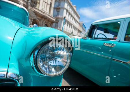 Close up of classic American cars parked in Havana, Cuba - Stock Photo