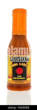 Winneconne, WI - 2 January 2017:  Bottle of Louisiana wing sauce on an isolated background. - Stock Photo
