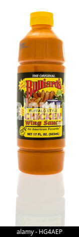 Winneconne, WI - 2 January 2017:  Bottle of Bulliard's wing sauce on an isolated background. - Stock Photo
