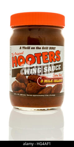Winneconne, WI - 2 January 2017:  Bottle of Hooters wing sauce on an isolated background. - Stock Photo