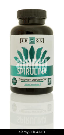 Winneconne, WI - 3 January 2017:  Bottle of Spirulina by Zhzou on an isolated background. - Stock Photo