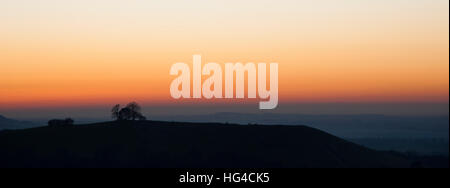 A sunset view over the Chiltern Hills and Aylesbury Vale from Coombe Hill - Stock Photo