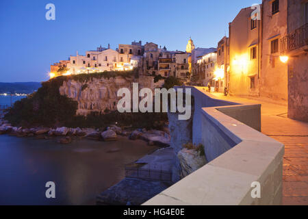 Old town with cathedral, Vieste, Gargano, Foggia Province, Puglia, Italy, Mediterranean - Stock Photo