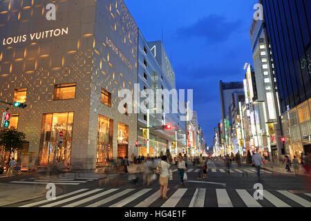 Ginza Shopping District, Tokyo, Japan, Asia - Stock Photo