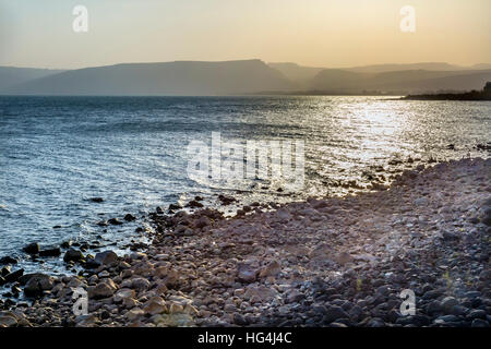 Sea of Galilee Capernaum from Saint Peter's House Israel - Stock Photo