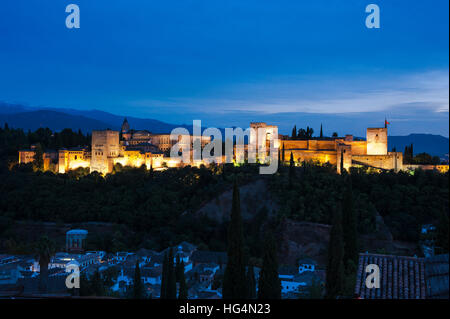 Alhambra in Granada at sunset, Andalusia, Spain - Stock Photo