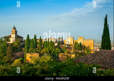 Alhambra in Granada, view to the Nasrid Palace and the Alcazaba, seen from the gardens of the Generalife, Andalusia, - Stock Photo