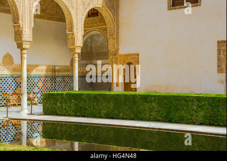 Patio de los Arrayanes, Court of the Myrtles with reflection, Innercourt of Nasrid Palace, Alhambra in Granada, - Stock Photo
