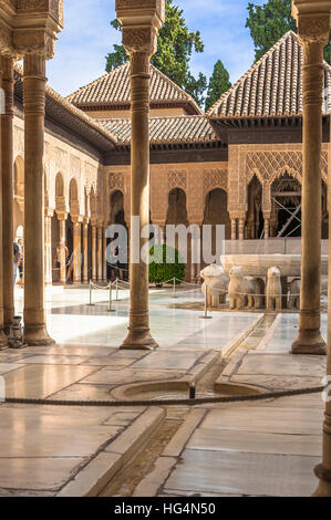 Court of the Lions and Fountain of the Lions, Alhambra in Granada, Andalusia, Spain - Stock Photo