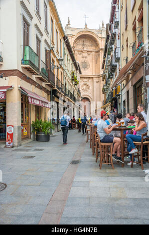 Lane in Granada with the portal of the cathedral, Spain - Stock Photo