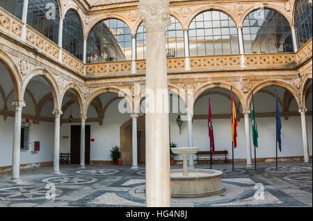 Palacio de las Cadenas, inner court, town Ubeda, Zona Monumental, UNESCO world heritage site, Andalusia, Spain - Stock Photo