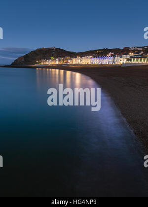 Aberystwyth promenade buildings in early evening, Ceredigion, Wales, UK - Stock Photo